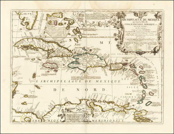 93-Florida and Caribbean Map By Vincenzo Maria Coronelli - Jean-Baptiste Nolin