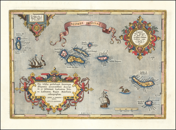 84-Atlantic Ocean and Portugal Map By Abraham Ortelius