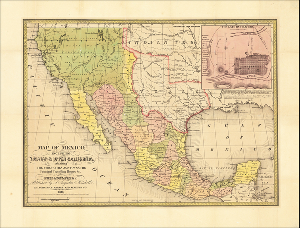 4-Texas, Plains, Southwest, Rocky Mountains, Mexico and California Map By Samuel Augustus Mitchel