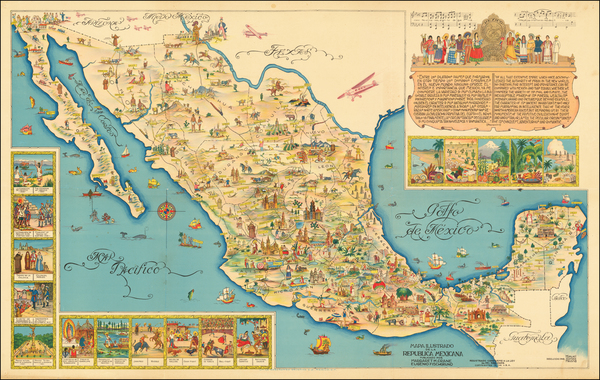 91-Mexico and Pictorial Maps Map By Miguel Gómez Medina