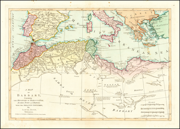 92-Mediterranean and North Africa Map By Laurie & Whittle / Samuel Dunn