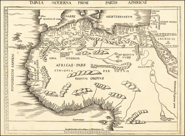 33-Africa, North Africa and West Africa Map By Martin Waldseemüller