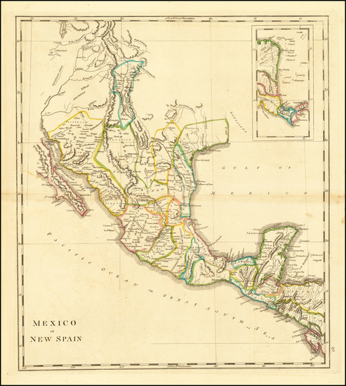 34-Texas, Southwest, Rocky Mountains and Mexico Map By