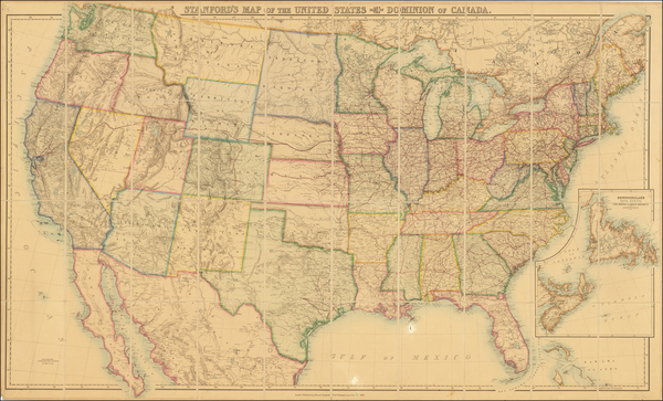 17-United States Map By Edward Stanford