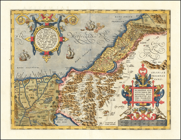 57-Holy Land Map By Abraham Ortelius