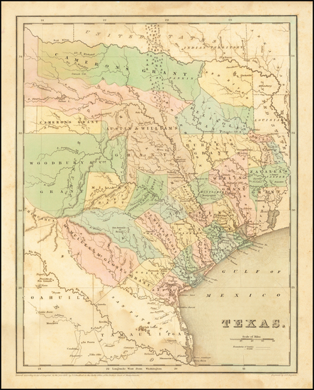 84-Texas Map By Thomas Gamaliel Bradford