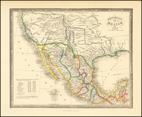 57-Texas, Plains, Southwest, Rocky Mountains, Mexico and California Map By James Wyld