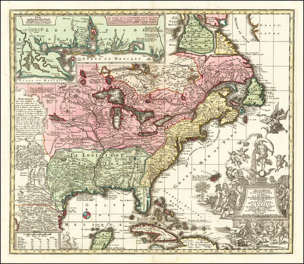 0-South, Southeast, Texas, Midwest and North America Map By Matthaus Seutter