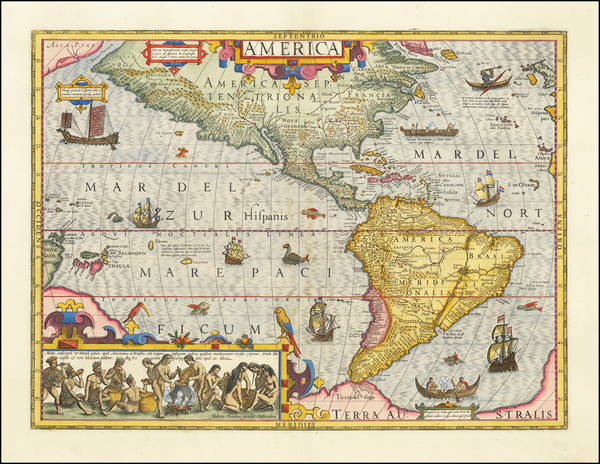 36-Western Hemisphere and America Map By Jodocus Hondius