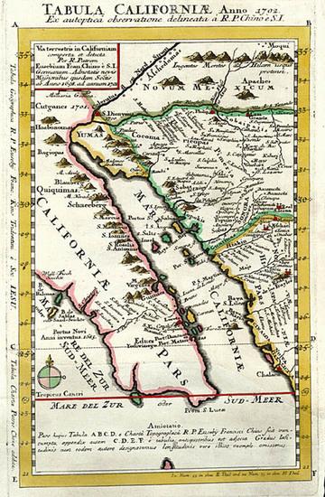 87-Southwest, Mexico, Baja California and California Map By Fr. Eusebio Kino