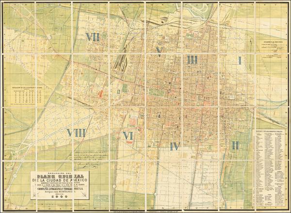 80-Mexico Map By Compañia Litografica Tipografica