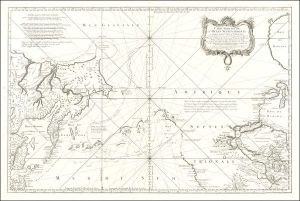 37-Polar Maps, Alaska, Canada and Pacific Map By Jacques Nicolas Bellin