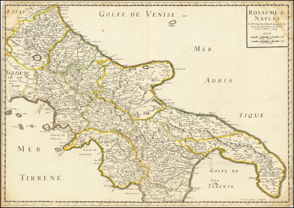 23-Southern Italy Map By Nicolas Sanson