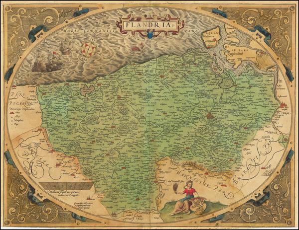 98-Belgium Map By Abraham Ortelius