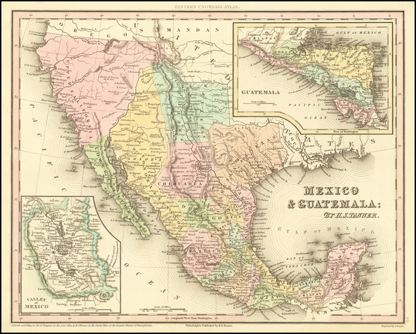 42-Texas, Southwest, Mexico and California Map By Henry Schenk Tanner