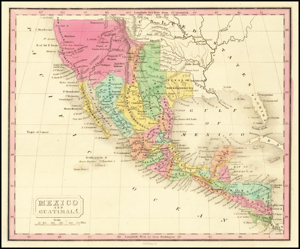 23-Texas, Plains, Southwest, California and Mexico Map By J.H. Young