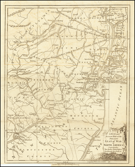 59-Mid-Atlantic, New Jersey and American Revolution Map By Universal Magazine