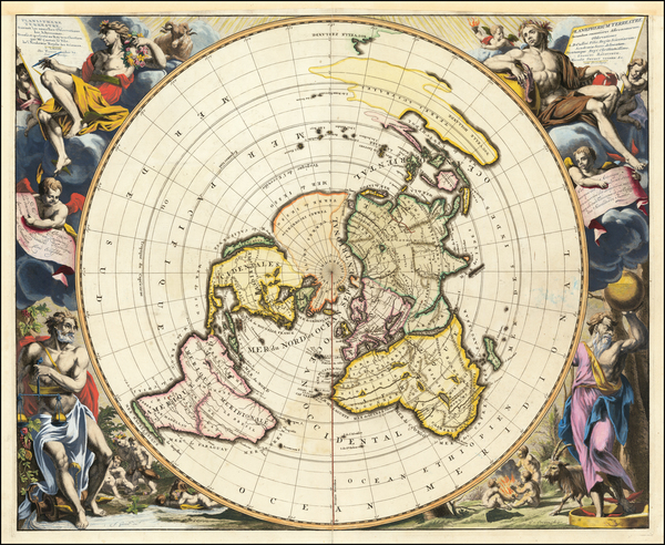 44-World and Polar Maps Map By Pieter van der Aa