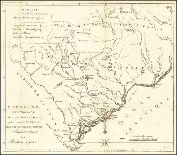 54-Southeast and South Carolina Map By Charles Picquet