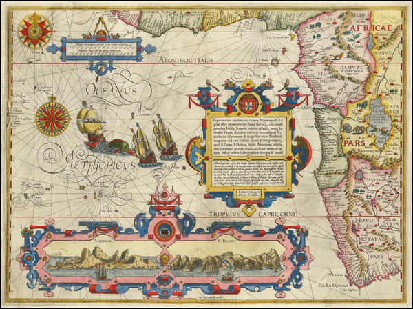 28-Atlantic Ocean, South Africa and West Africa Map By Jan Huygen Van Linschoten