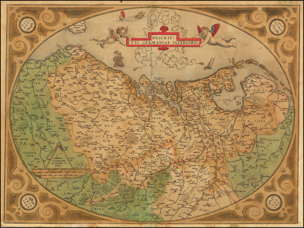 68-Netherlands and Luxembourg Map By Abraham Ortelius