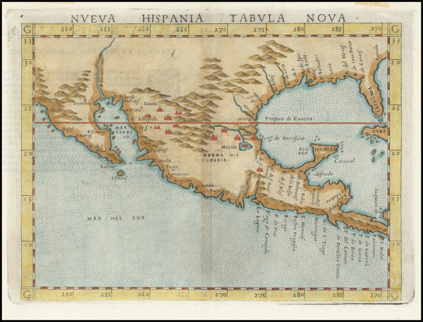 42-South, Southeast, Southwest and Mexico Map By Girolamo Ruscelli