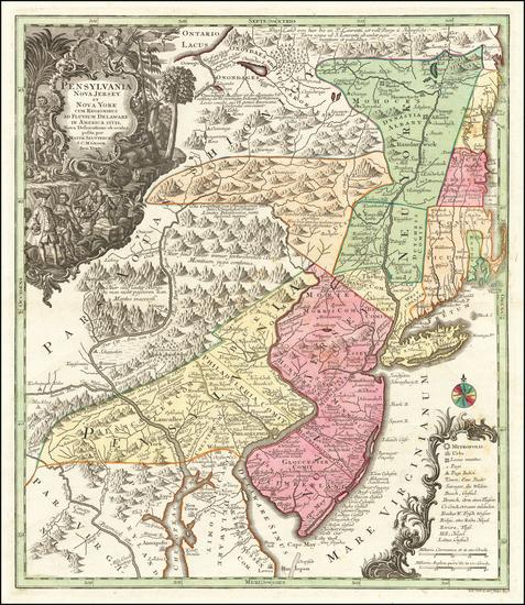 98-Mid-Atlantic Map By Matthaus Seutter