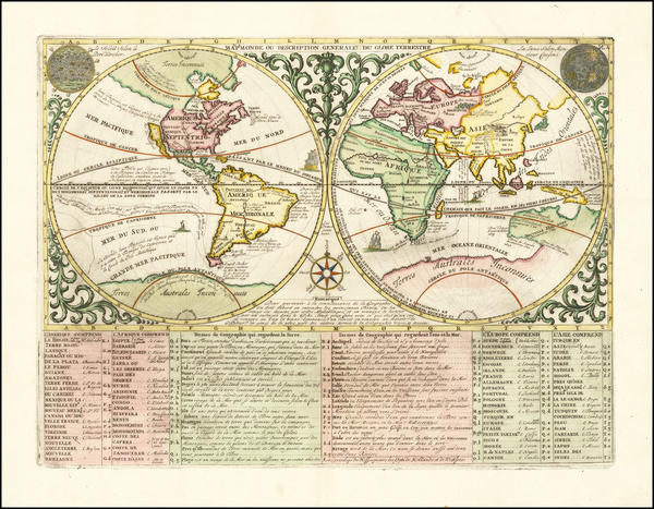61-World and California as an Island Map By Henri Chatelain