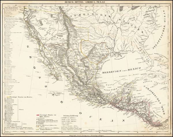 50-Texas, Southwest, Rocky Mountains and California Map By Carl Flemming
