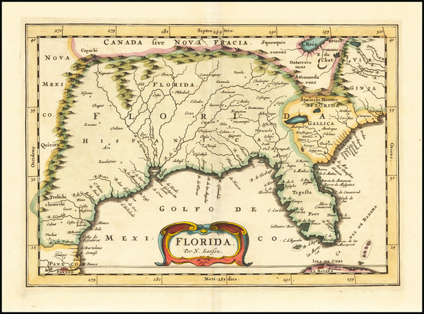 54-Florida, South, Southeast, Midwest and Southwest Map By Nicolas Sanson / Adam Friedrich Zurner