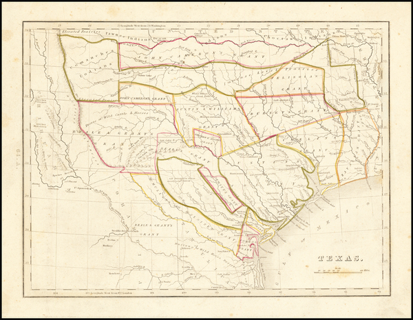 72-Texas Map By Thomas Gamaliel Bradford