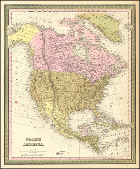 73-North America Map By Samuel Augustus Mitchell
