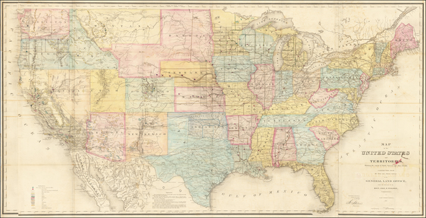 38-United States Map By U.S. General Land Office