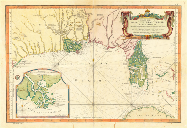 63-Florida, South, Louisiana, Alabama and Mississippi Map By Jacques Nicolas Bellin