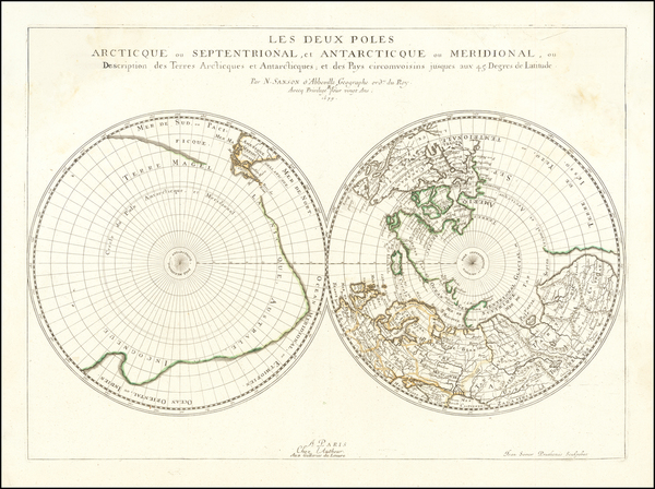 68-World and Polar Maps Map By Nicolas Sanson