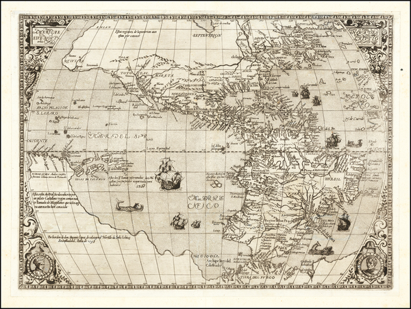 68-Western Hemisphere and America Map By Hernando de Solis