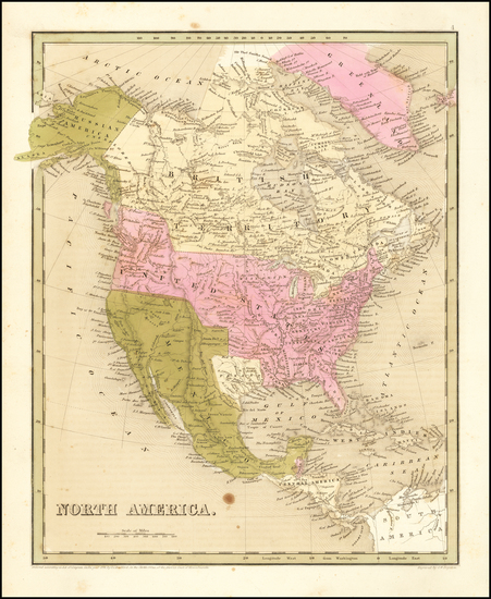 81-Texas and North America Map By Thomas Gamaliel Bradford