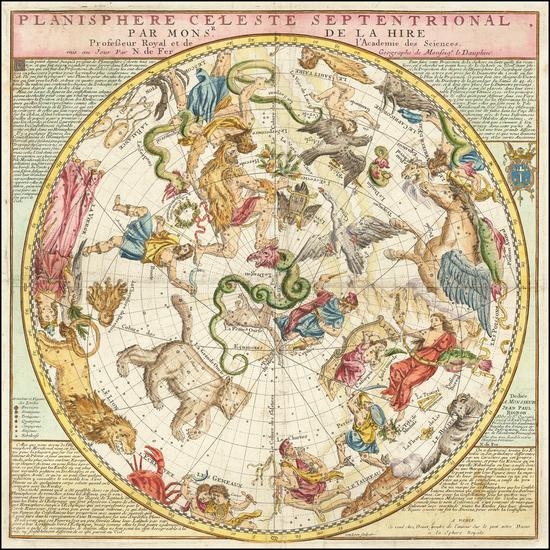 98-Celestial Maps Map By Nicolas de Fer / Guillaume Danet
