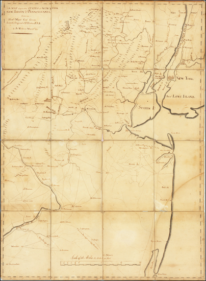 13-New York State, New Jersey, Pennsylvania and American Revolution Map By John Erskine