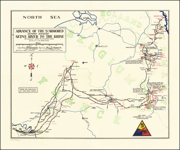 86-Netherlands, Belgium, Luxembourg, France and World War II Map By 669th Engineer Topographical C