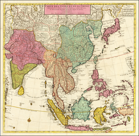 67-China, Japan, Korea, India, Southeast Asia and Philippines Map By Johannes Covens  &  Corne