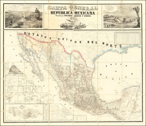 69-Texas, Southwest and Mexico Map By Antonio Garcia y Cubas