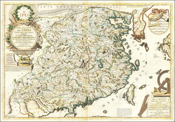 63-China and Korea Map By Vincenzo Maria Coronelli