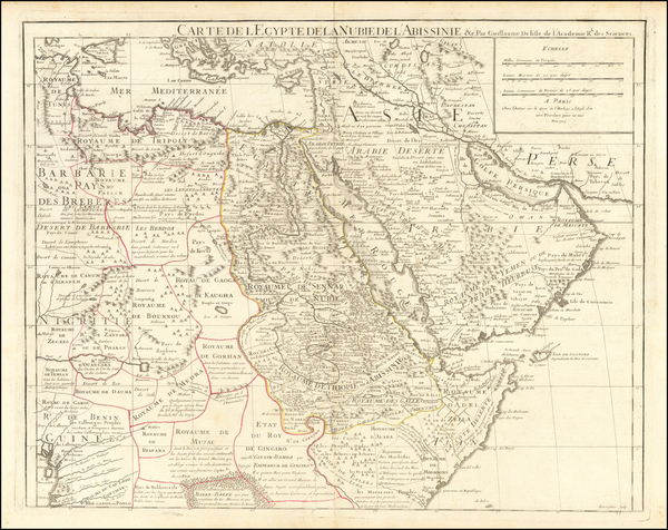 50-Middle East, Arabian Peninsula, Egypt and North Africa Map By Guillaume De L'Isle