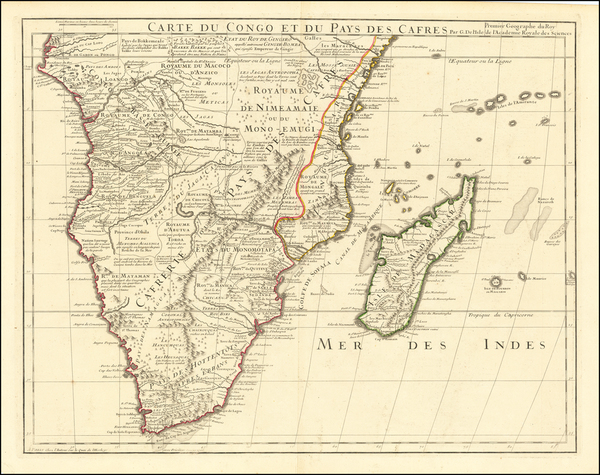 53-South Africa, East Africa and African Islands, including Madagascar Map By Guillaume De L'Isle