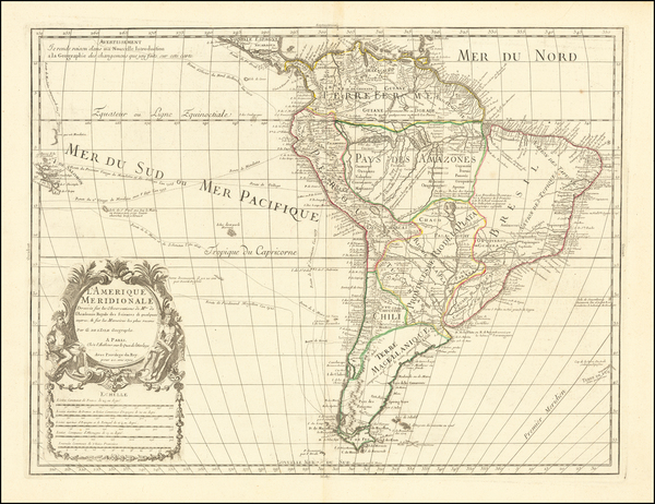 92-South America Map By Guillaume De L'Isle