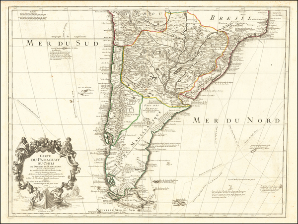 26-Argentina, Chile, Paraguay & Bolivia and Uruguay Map By Guillaume De L'Isle