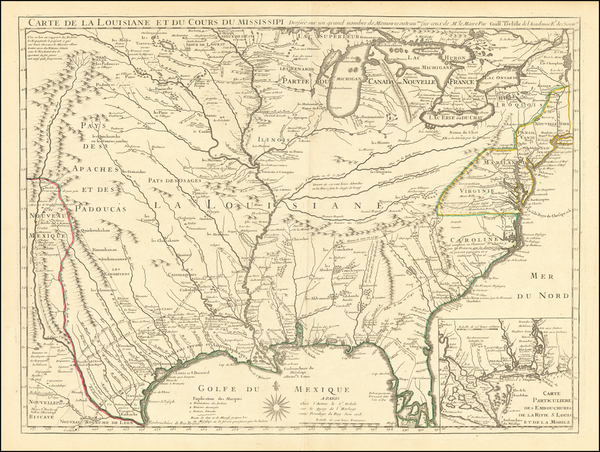 65-South, Southeast, Texas, Midwest, Plains and Southwest Map By Guillaume De L'Isle