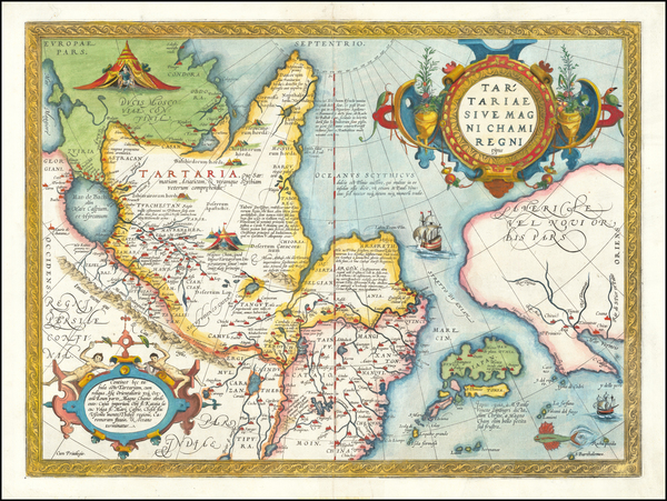 58-Pacific Northwest, Alaska, China, Japan, Russia in Asia and California Map By Abraham Ortelius
