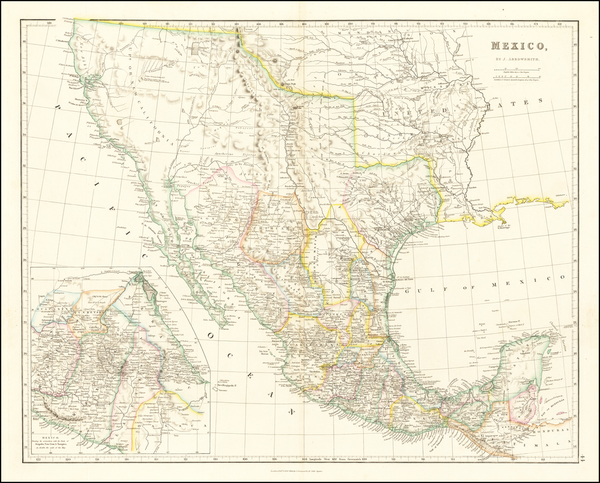48-Texas, Southwest, Rocky Mountains, Mexico and California Map By John Arrowsmith
